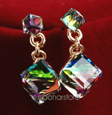 AUSTRIAN CRYSTAL CUBE DROP DANGLE STUD EARRINGS