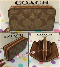 COACH Signature PVC Small Double Zip Coin Case/Card Wallet Khaki/Saddle F63975