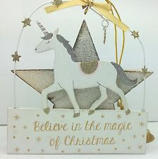 BELEIVE IN THE MAGIC OF CHRISTMAS UNICORN HANGING PLAQUE WHITE GOLD SIGN