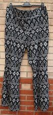 PAPAYA TALL BLACK WHITE TRIBAL SILKY FEEL AZTEC FLARE PALAZZO TROUSERS PANTS 18