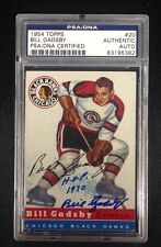 BILL GADSBY SIGNED 1954 TOPPS CARD #20 PSA/DNA Auto CHICAGO BLACKHAWKS 83195382
