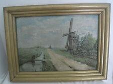 tableau , Ecole française , Huile sur toile , moulin a vent le long d'un canal
