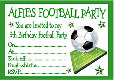 PERSONALISED INVITES CHILDRENS / BOYS FOOTBALL BIRTHDAY PARTY INVITATIONS X 10