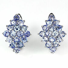 Silver 925 Stunning Genuine Natural Blue Violet Tanzanite Diamond Shape Earrings