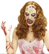 Ladies Blonde Zombie Wig Mask Scary Halloween Dead Nurse Mike Myers Fancy Dress