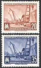 Germany (DDR) 1956 Crane/Rail/Railway/Industry Fair/Transport 2v set (n27580)