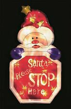 Santa Stop Here Sign LED Battery Light Up Christmas Indoor Window Silhouette