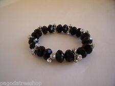 New Stretch Bracelet of Black Facet Cut Glass Beads & Diamante