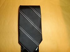 MEN'S BROOKS BROTHERS BLACK STRIPE WITH WHITE TIE NEW IRREGULAR SEE DETAILS