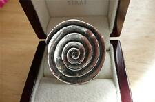 LARGE ROUND SOLID 925 STERLING SILVER SWIRL DESIGN RING SZ M US 6.5