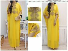 Fancy Yellow Kaftan Dress Moroccan Maxi Kaftan Dress Bridesmaid Wedding Dress