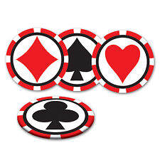 Pack of 8 Card Suit Coasters - Casino Party Decoration - Playing Card Coaster