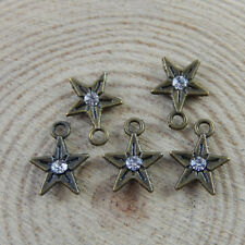 **30pcs Antiqued Bronze Alloy Pentacle Star Rhinestone 8mm Pendant Charms 32704