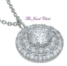2.00 Ct Round Brilliant cut Halo Diamond Pendant Necklace with Chain White Gold
