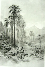 PALM DESERT VALLEY BAJA California MEXICO INDIANS ~ Old 1888 Landscape Art Print
