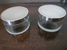SCARCE JACQUES CARTIER PAIR OF ART DECO HM STERLING SILVER/CUT GLASS JARS - 1936