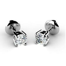 0.15 Carat Round Diamond Stud Screw Back Earrings Crafted in 9k White Gold