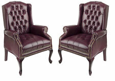 SET OF 2 Oxblood (Burgundy) Traditional Wing Back Queen Anne Lounge Club Chairs