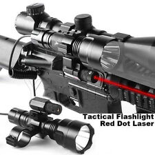 Tactical Red Laser Sight + Cree Led Flashlight + Scope Mount + Remote Switch *