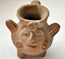 Ancient Authentic Mayan Pre-Columbian Clay Carved Jar