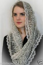 NEW Chapel Veil Mantilla Infinity Veil Scarf Latin Mass Ivory and Black  Lace