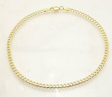 "10"" Italian Solid Cuban Curb Ankle Bracelet Anklet 14K Yellow Gold Clad Silver"