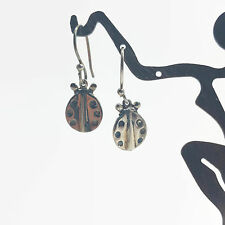 Sterling Silver Lady Bug Earrings with Silver Tone Ear Wires