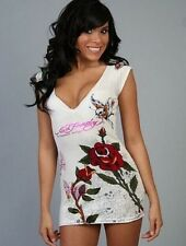 Womens Summer Tank Top Chinese Style Rose Tiger Design Large 10/12 White