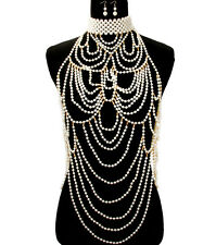 SPECTACULAR Statement Gold Pearl Choker Necklace Body Chain Set  Rocks Boutique