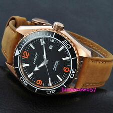 Parnis 45mm black dial Golden case Sapphire Glass MIYOTA Automatic mens Watch306