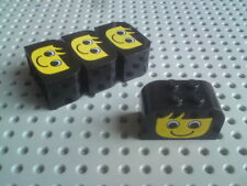 Lego Slopes Rounded Double 4x2x2 with Smiley Face - Black x4