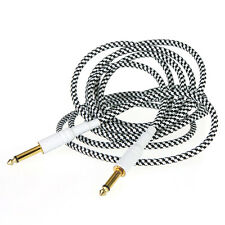 3m/10FT Cloth Braided Tweed Electric Box Piano Guitar Cable Cord Black White
