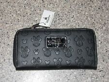 Disney Parks Boutique Collection Mickey Minnie Mouse Embossed Black Wallet (NEW)
