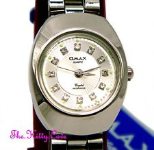 Designer Omax impermeabile argento rodio PIASTRA CRYSTAL DONNA DRESS WATCH wp3900