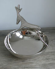 Silverplate Deer Candy Bowl Dish Christmas All Year Sheridan Modern Clean Lines