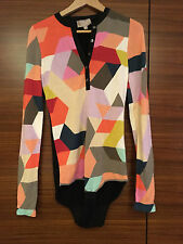 Womens Size Small Bradamant Body Suit Multi-color Knit Top