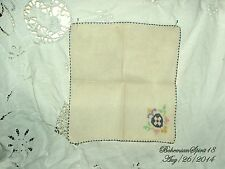 ANTIQUE VINTAGE FRENCH HAND EMBROIDERY FLOWER FINE LINENS TABLE NAPKIN