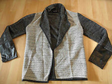 GINA Ernstings Family stylische Strickjacke m. Kunstlederbesatz Gr. 36 TOP MD616