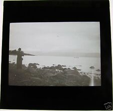 Glass Magic Lantern Slide BEACH AT TABGHAR C1910 ISRAEL