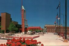 Downtown Elkhart, Indiana, Civic Plaza, American Flags, Flowers etc. -- Postcard