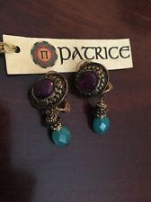Patrice NEW Plum and Teal Clip Earrings