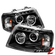 03-06 Ford EXPEDITION Halo Angel Eyes LED Projector Black Headlight Signal Lamp
