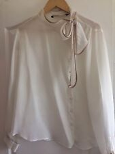 Zara Silk Pussy Bow Tie Blouse, Cream/nude Piping, Size XL