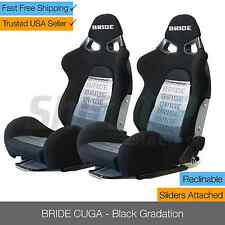 BRIDE CUGA Black GRADATION Pair Reclinable Racing Seats Low Max with Sliders