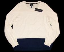 NWT TOMMY HILFIGER Womens Sweater XL Colorblock Blue Cream Cotton Cashmer Jumper