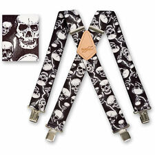 "Brimarc Mens Heavy Duty Suspender 2"" 50mm Wide Lightning Skulls Braces"