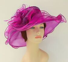New Church Kentucky Derby Wedding Organza Wave Ascot Dress Hat 3190 Purple