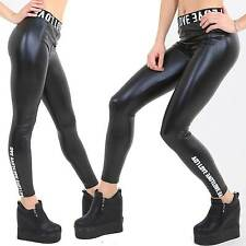 Blanc Love inscription brillance noir wetlook Leggings super fines tissu 34-38