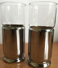 Glasses Cups Chrome Bottom Cork Lined Vintage Drink Glass Milkshake Rare  (2)