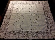Antique Broderie Anglese Ladies Cameo Lace Trim Tablecloth for Bridal Cake Table